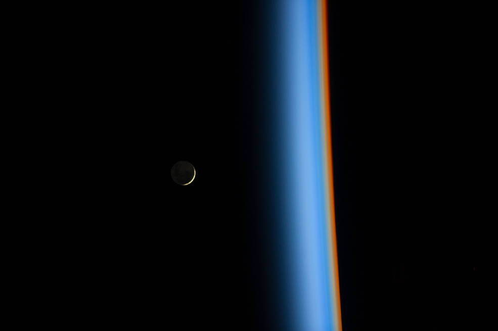 Crescent Moon Rising and Earth's Atmosphere | NASA