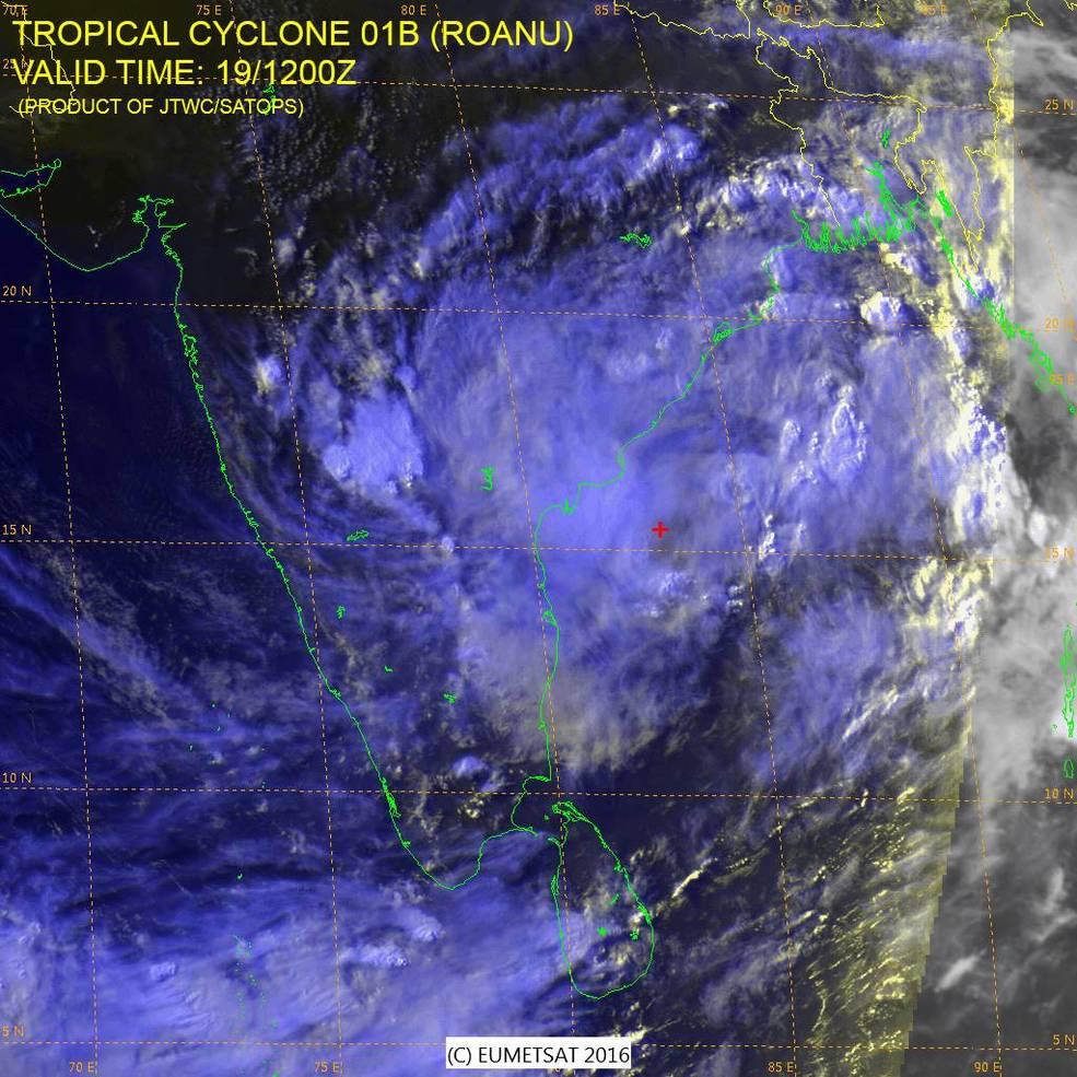 Satellite image of Roanu over India