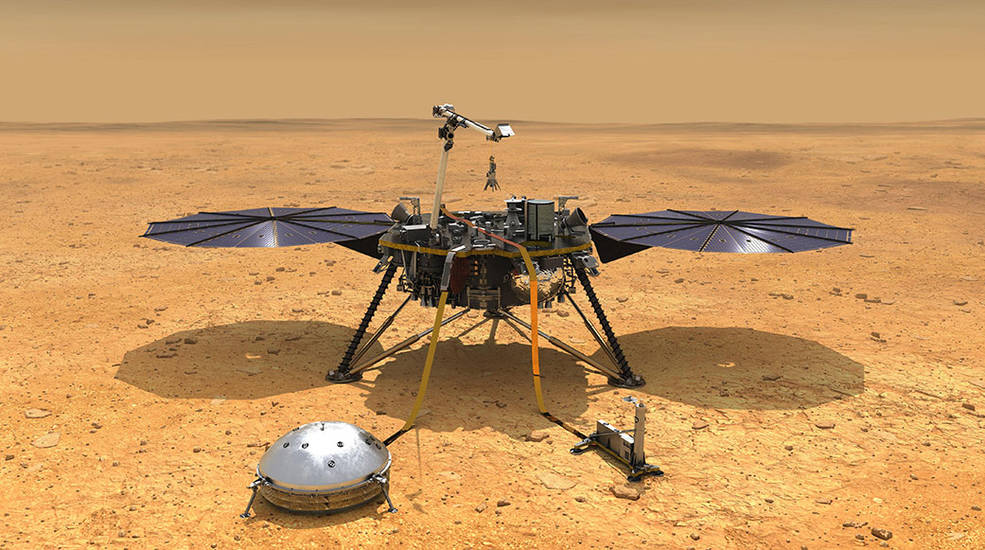 This illustration shows NASA's InSight spacecraft