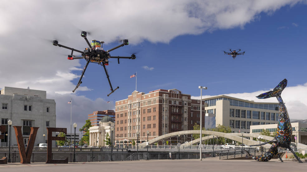 Drones in flight over Reno, Nevada, during shakedown tests for NASA's Unmanned Aircraft Systems Traffic Management project