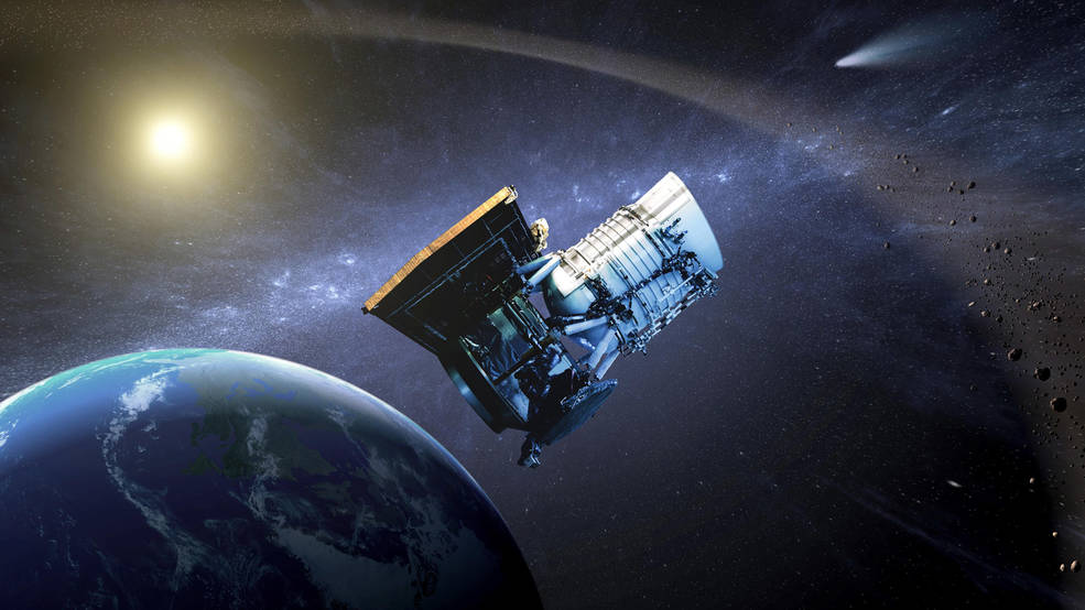 This artist's concept shows the Wide-field Infrared Survey Explorer, or WISE, spacecraft