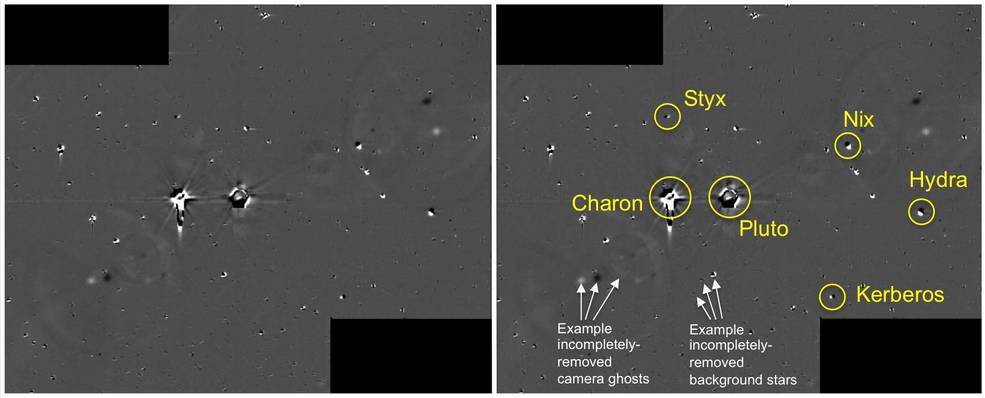 Two sets of 48 combined 10-second exposures with New Horizons' Long Range Reconnaissance Imager (LORRI) camera