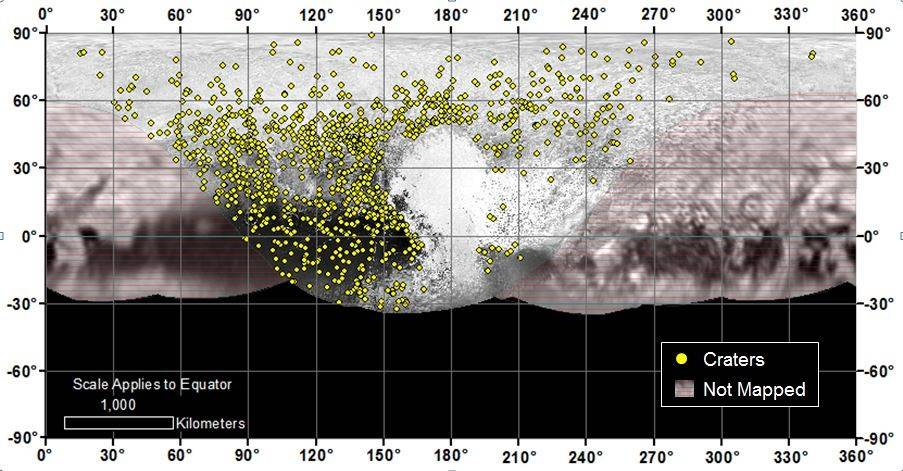 Locations of more than 1,000 craters mapped on Pluto by NASA's New Horizons mission