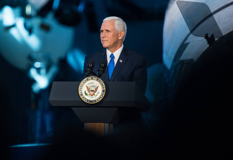 Vice President Mike Pence delivers opening remarks during the National Space Council's first meeting,