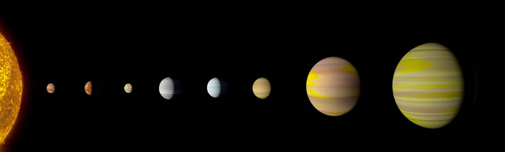 The Kepler-90 system is the first to tie with our solar system in number of planets.