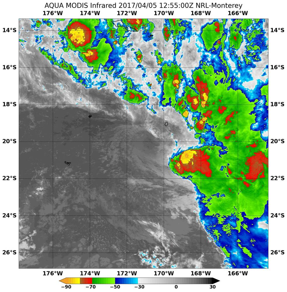 a lesson in infrared light looking at 3 tropical cyclones nasa aqua image of 14p
