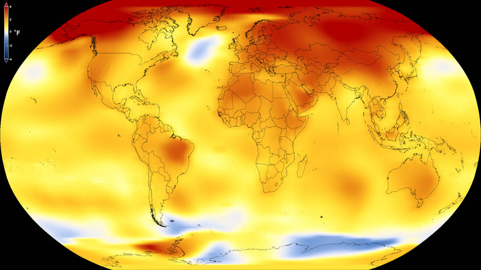 This map shows Earth's average global temperature from 2013 to 2017