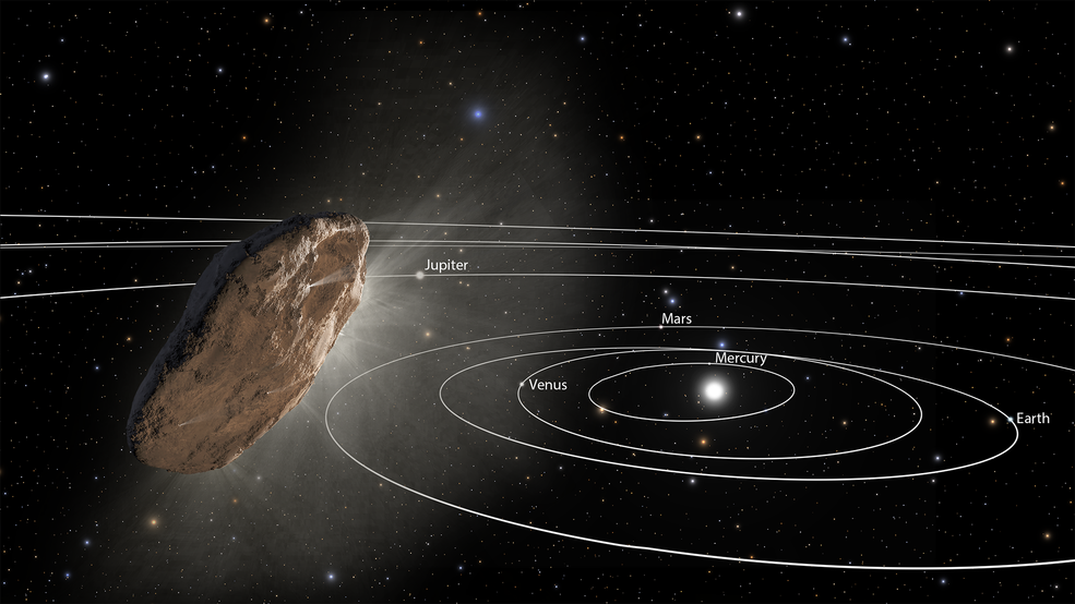This illustration shows 'Oumuamua racing toward the outskirts of our solar system.