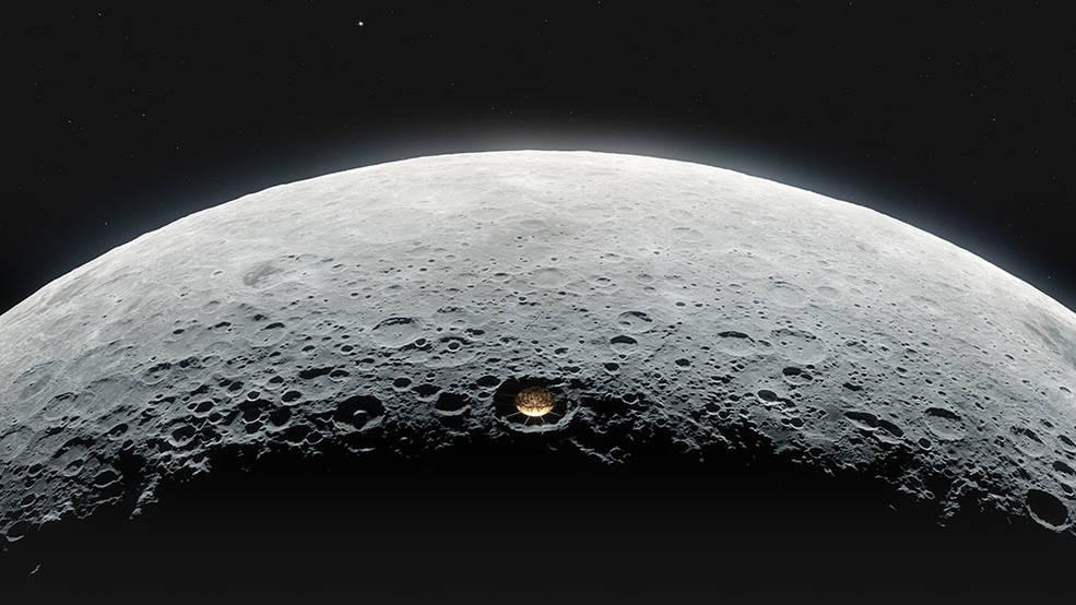 ¿Sería posible disponer de un radiotelescopio en un cráter lunar?