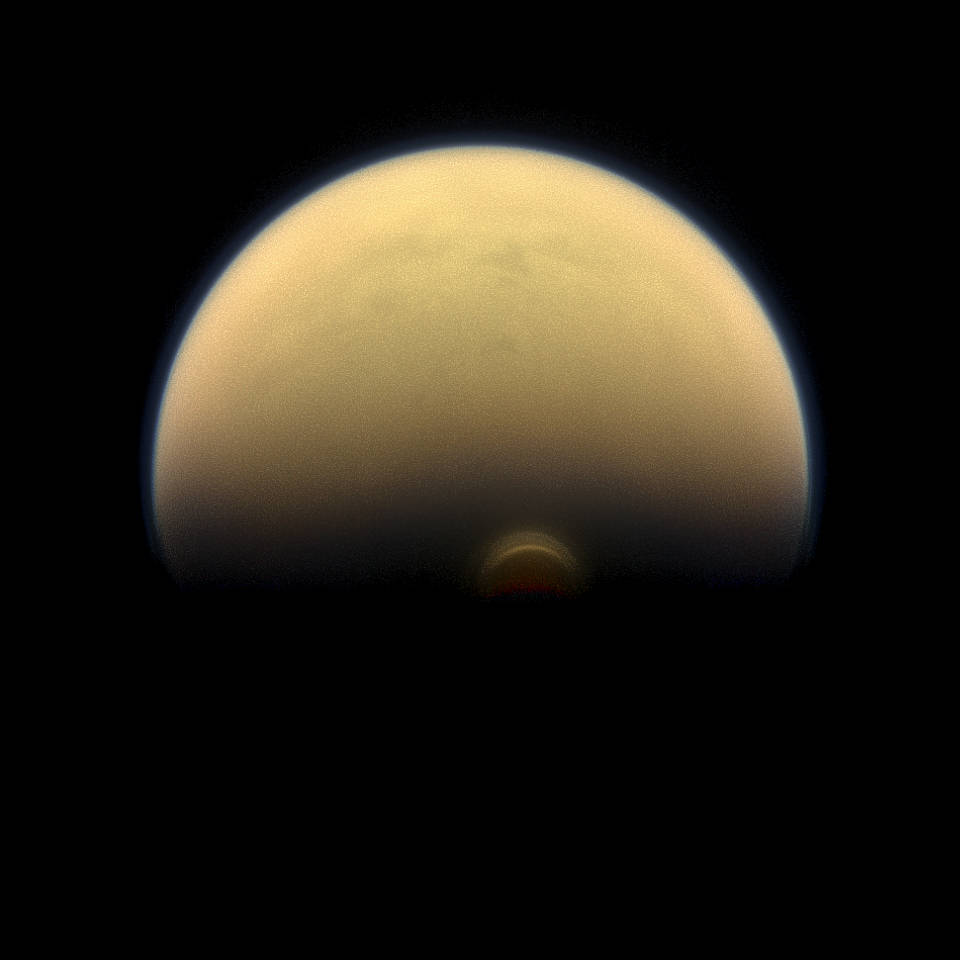 A cloud system called the south polar vortex on Titan's south pole