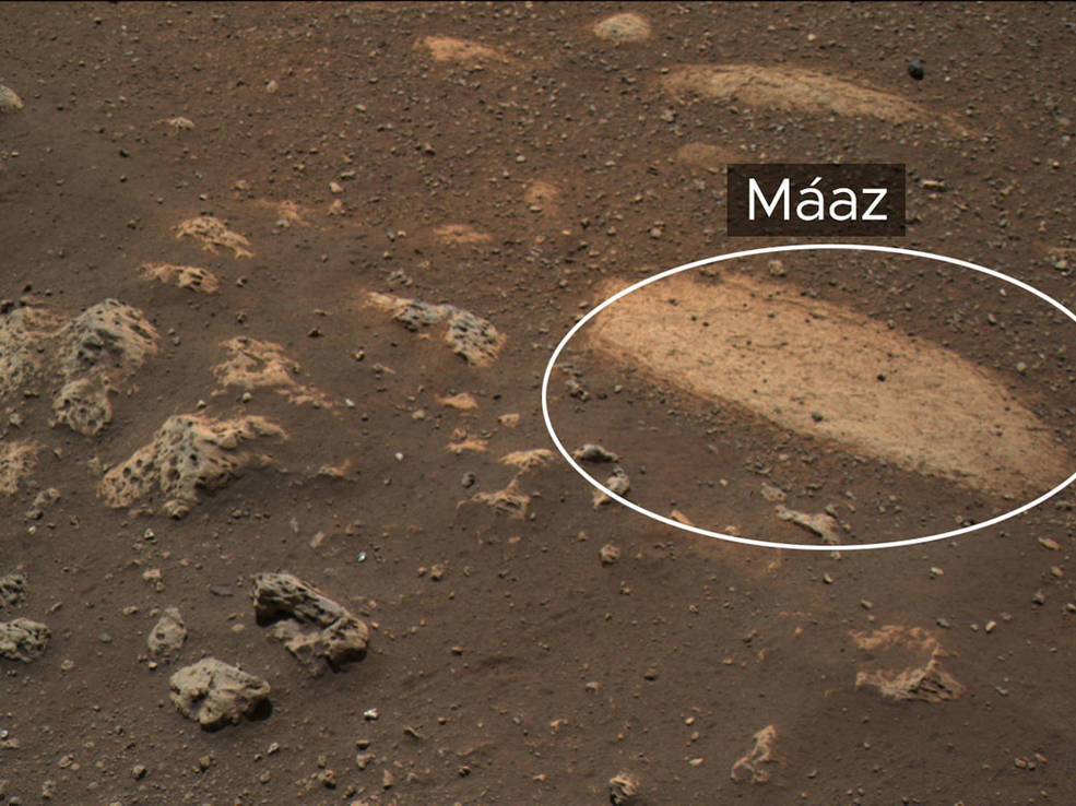 """This rock, called """"Máaz"""" (the Navajo word for """"Mars"""")"""