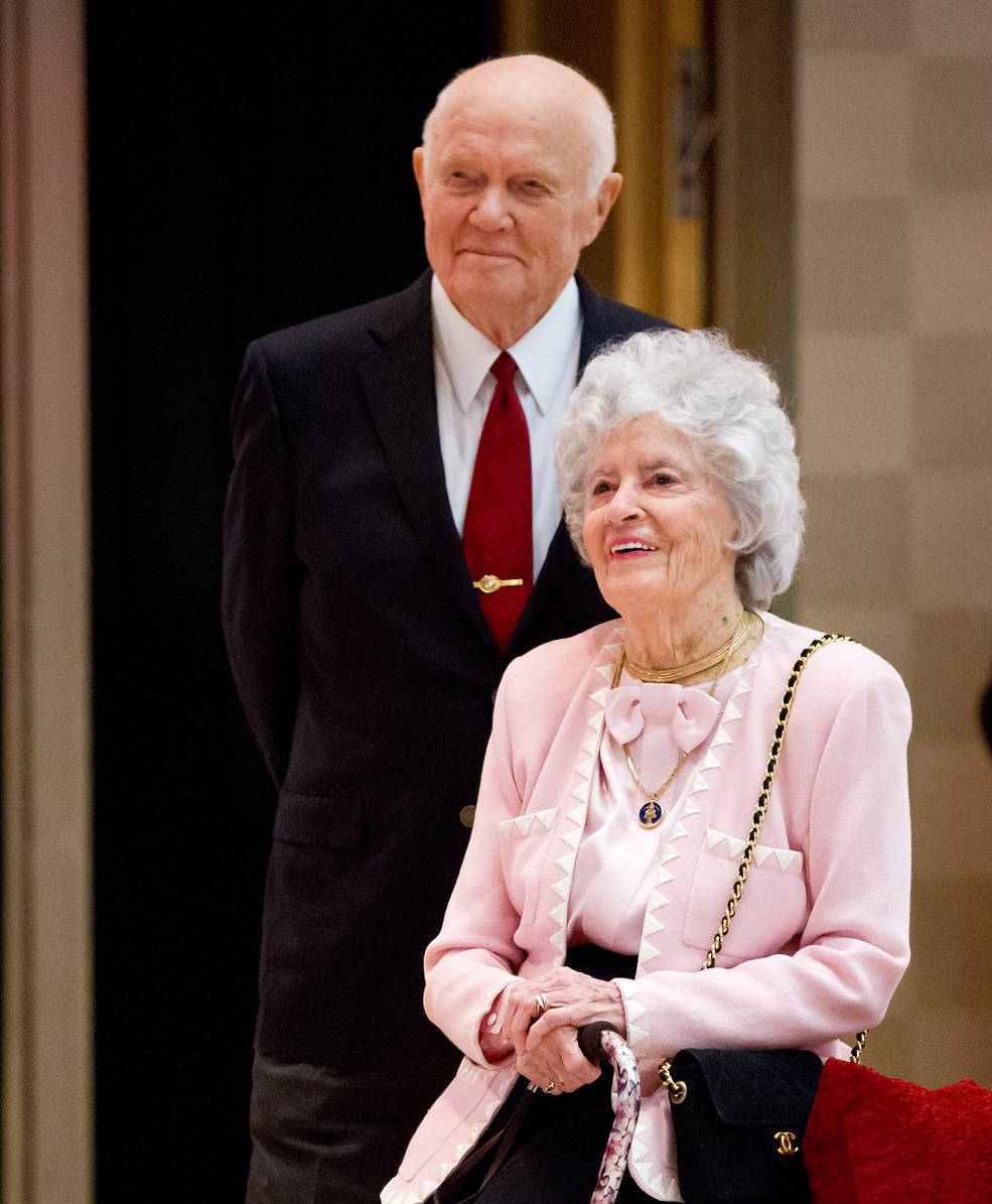 Sen. John Glenn and his wife Annie listen to speakers during a reception at Ohio State University in 2012.