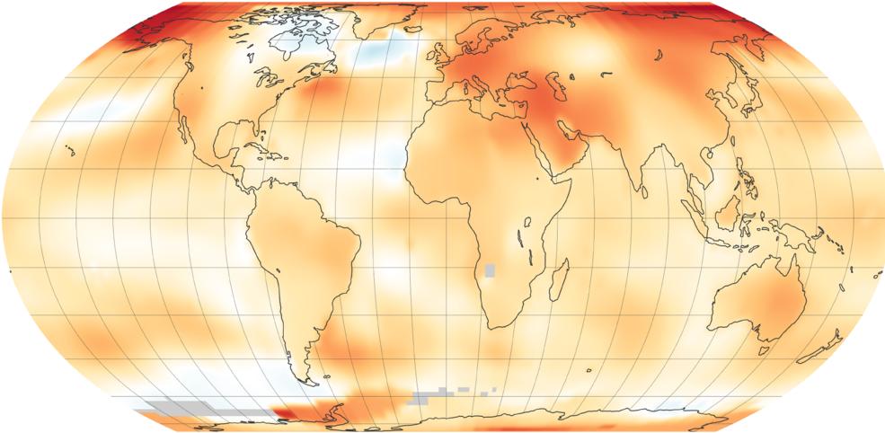 NASA and NOAA 2018 global temperature data