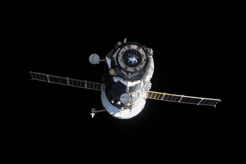 The Russian Progress 60 cargo craft is seen shortly after undocking from the Space Station, Dec. 19, 2005
