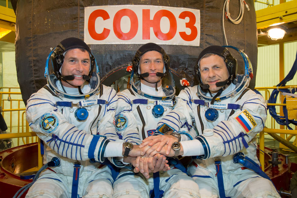 Expedition 49 crewmembers Shane Kimbrough of NASA and Sergey Ryzhikov and Andrey Borisenko of the Russian space agency Roscosmos