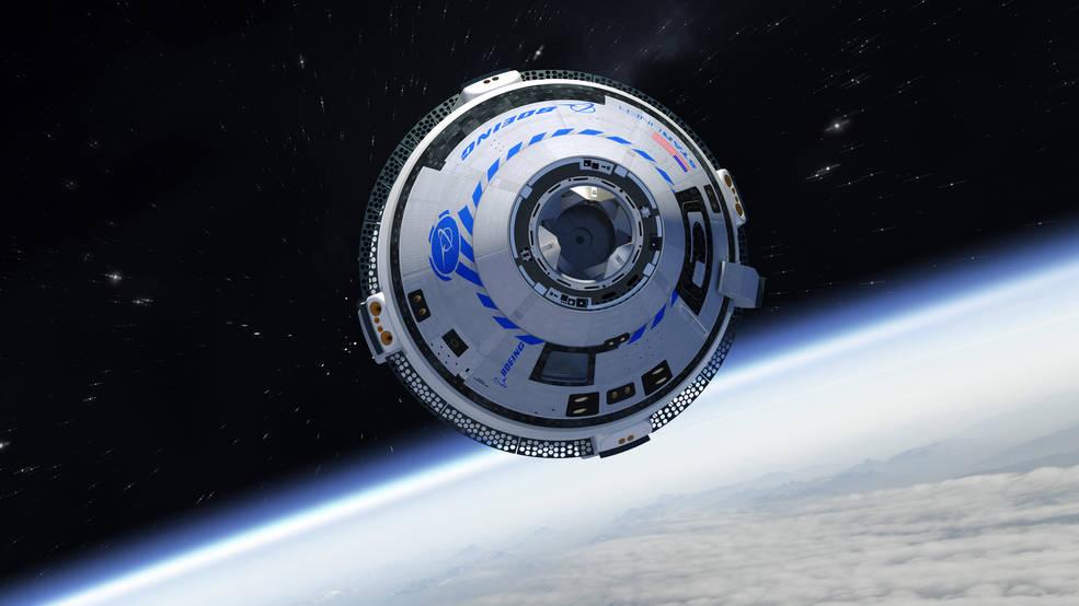 An artist's illustration of Boeing's CST-100 Starliner spacecraft in orbit.