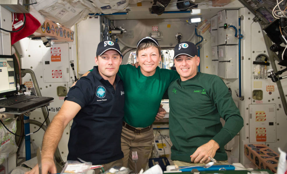 From left to right: ESA astronaut Thomas Pesquet, Peggy Whitson and Shane Kimbrough.