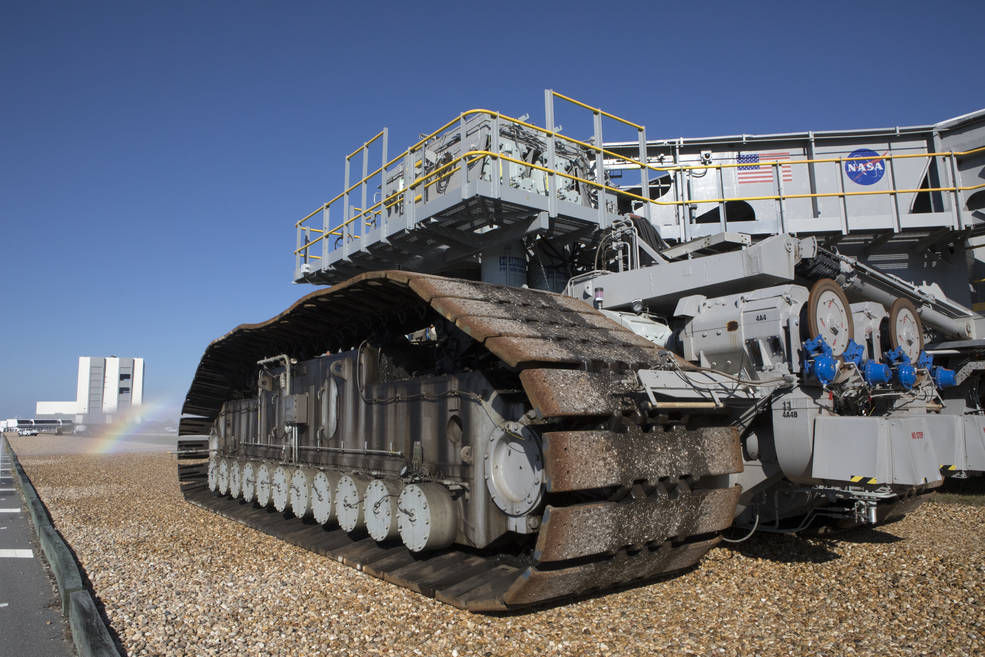 Crawler transporter closeup showing treads