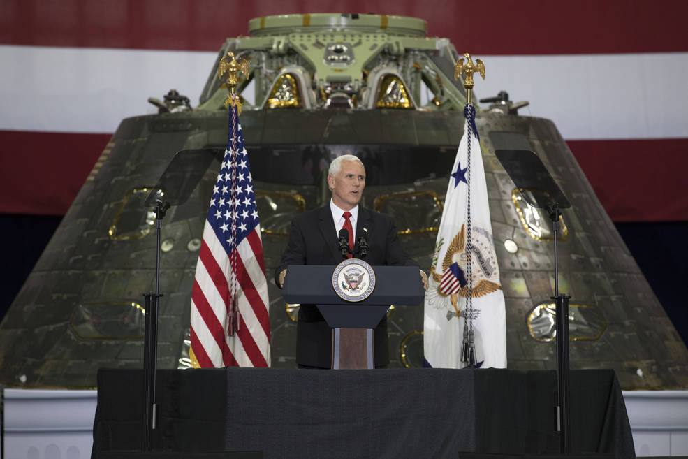 Vice President Mike Pence speaks before an audience of NASA leaders, U.S. and Florida government officials, and employees