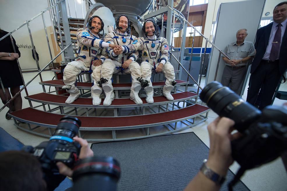 Expedition 53 crew members: Joe Acaba of NASA, Alexander Misurkin of Roscosmos, and Mark Vande Hei of NASA