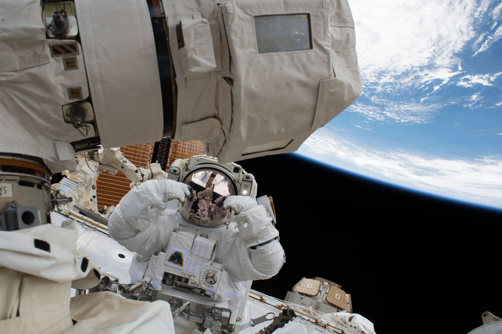 NASA astronaut Scott Tingle is pictured during a spacewalk on Jan. 23, 2018