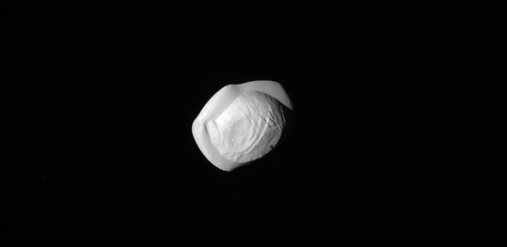 This raw, unprocessed image of Saturn's moon Pan was taken on March 7, 2017 by NASA's Cassini spacecraft
