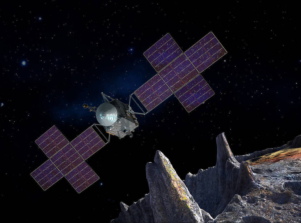 artist's concept depicts the spacecraft of NASA's Psyche mission