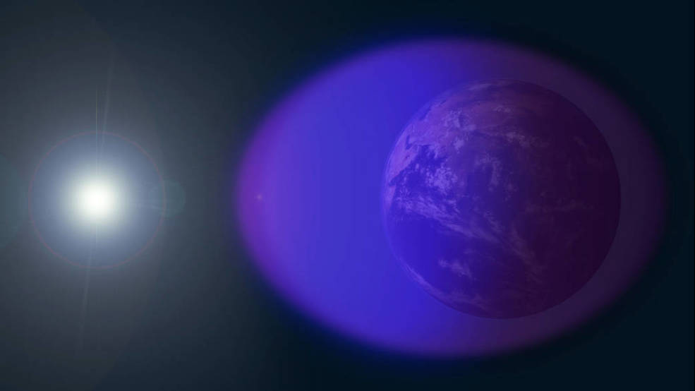the ionosphere — shown in purple and not-to-scale in this image