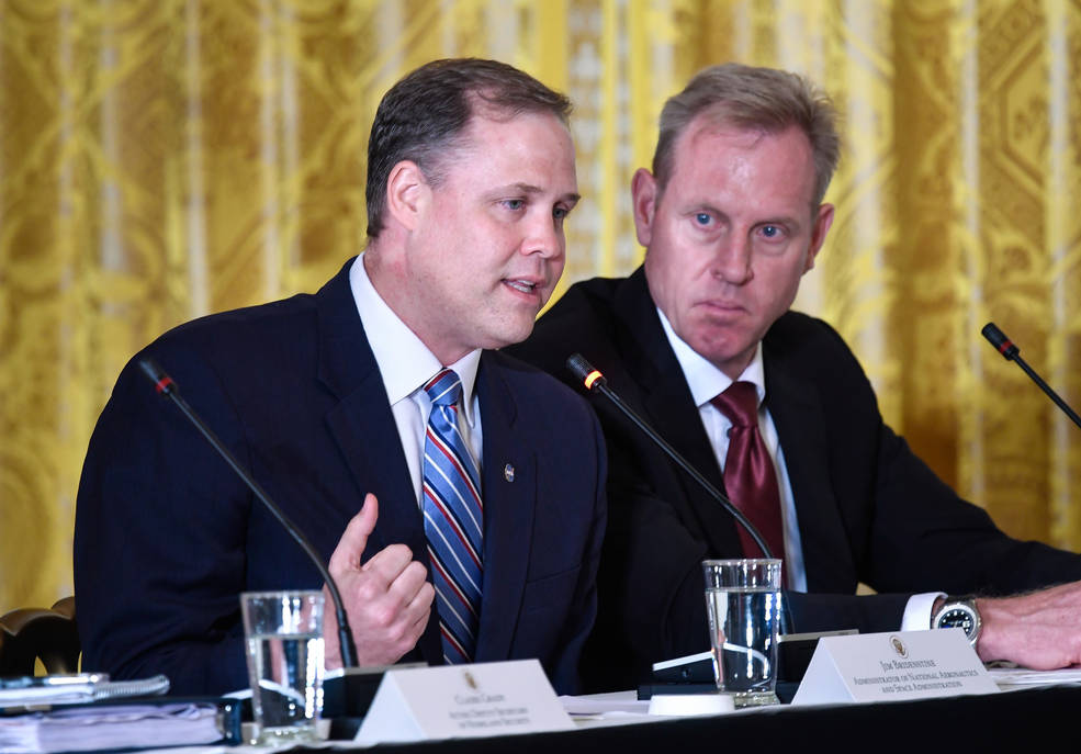 NASA Administrator Jim Bridenstine speaks during a meeting of the National Space Council in the East Room of the White House