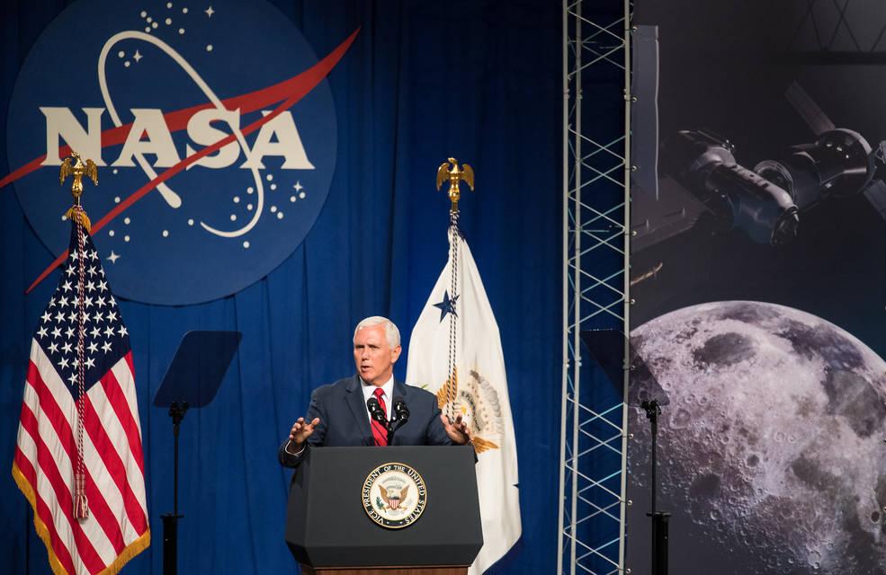 Vice President Mike Pence speaks in the Teague Auditorium at NASA's Johnson Space Center, Thursday, Aug. 23, 2018 in Houston