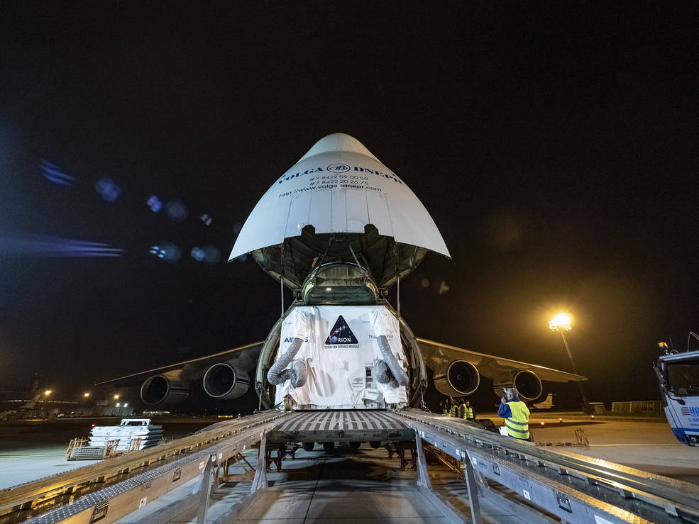 European Service Module for NASA's Orion spacecraft is loaded on an Antonov airplane in Bremen, Germany