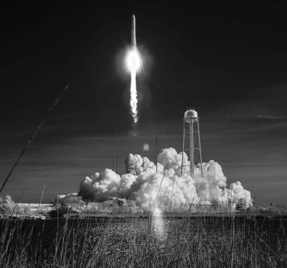 The Northrop Grumman Antares rocket, with Cygnus resupply spacecraft onboard, is seen in this black and white infrared photo