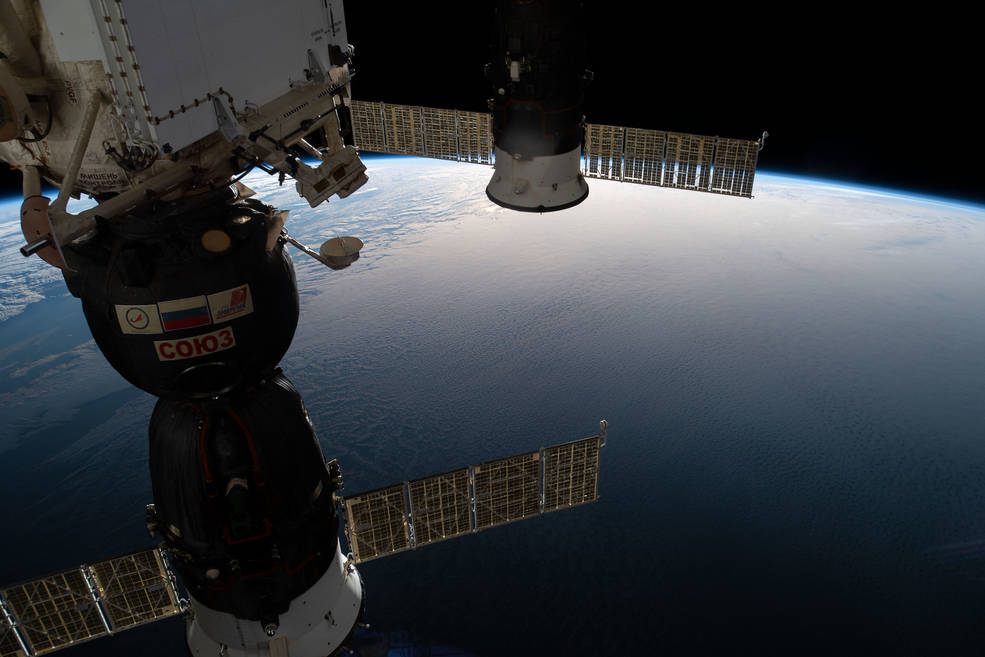 Two docked Russian spaceships, including the Soyuz MS-12 crew craft and the Progress 72 space freighter, are seen in this photo.