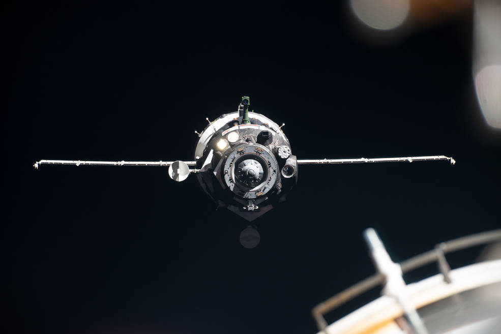 The Soyuz MS-13 crew spacecraft is seen as it approached the International Space Station for docking