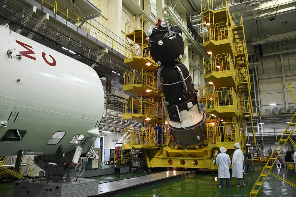 The Soyuz MS-14 spacecraft is scheduled to launch on a test flight Aug. 21 on a Soyuz 2.1a booster from the Baikonur Cosmodrome