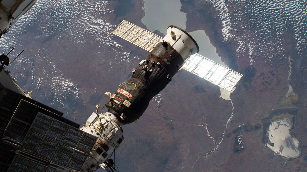 Russian Progress cargo craft is pictured shortly before undocking from the Pirs docking compartment