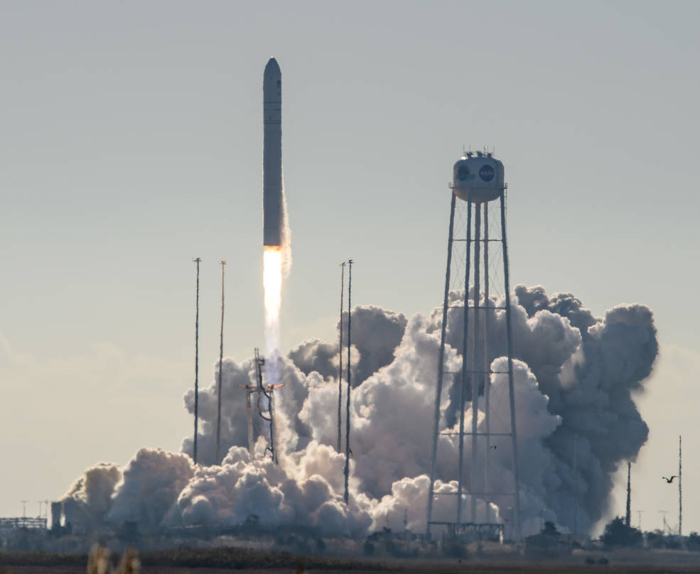A Northrop Grumman Antares rocket, with Cygnus resupply spacecraft onboard, launches from Pad-0A of NASA's Wallops