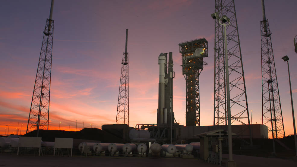 Boeing's CST-100 Starliner spacecraft sits on top of the United Launch Alliance Atlas V rocket at Space Launch Complex 41