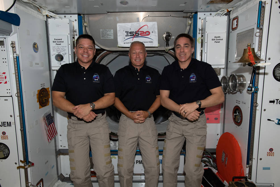 NASA astronauts (from left) Bob Behnken, Doug Hurley and Chris Cassidy are the U.S. members of the Expedition 63 crew
