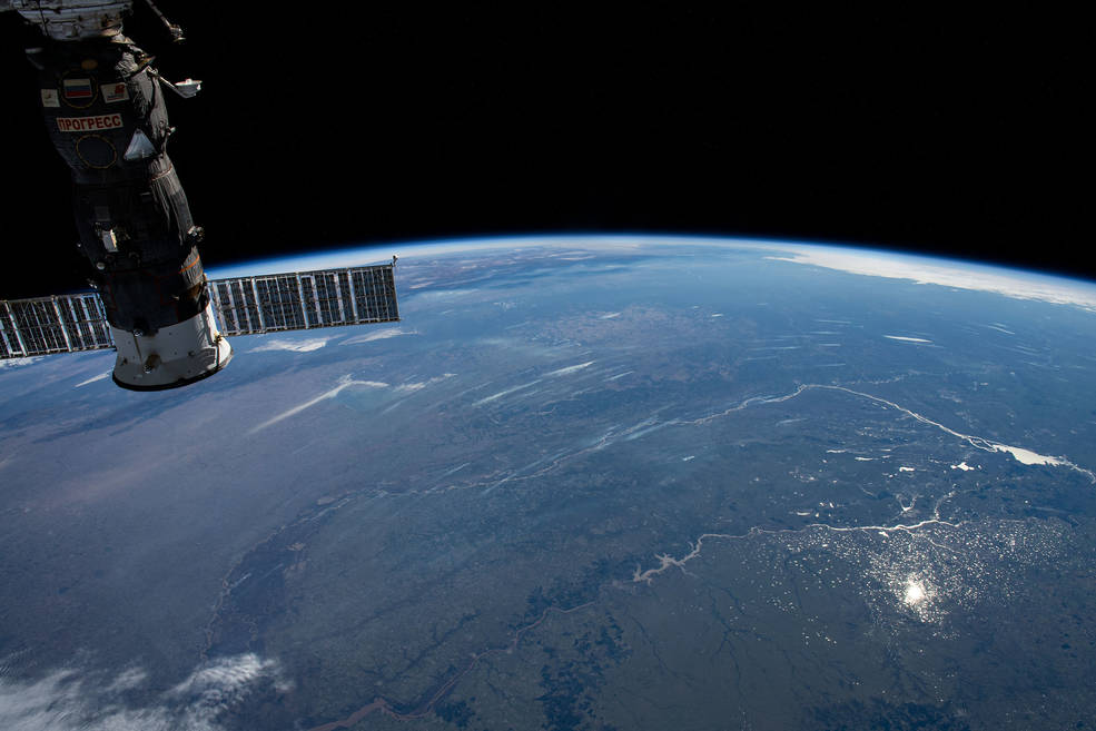 This photograph of the Earth's horizon looks back towards Uruguay as the International Space Station orbited just off the coast