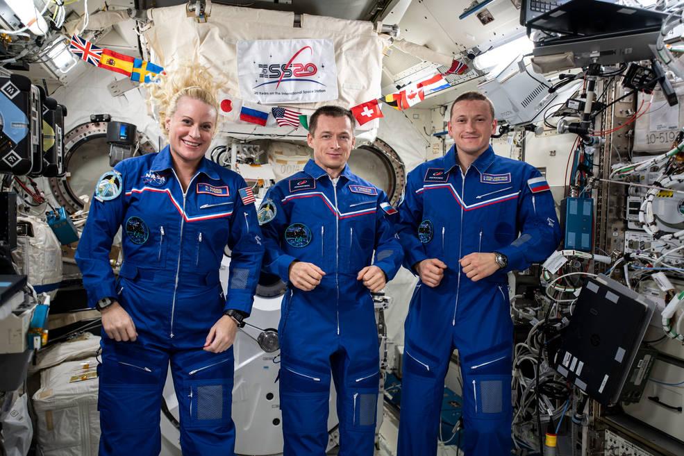 Kate Rubins of NASA and Sergey Ryzhikov and Sergey Kud-Sverchkov of Roscosmos