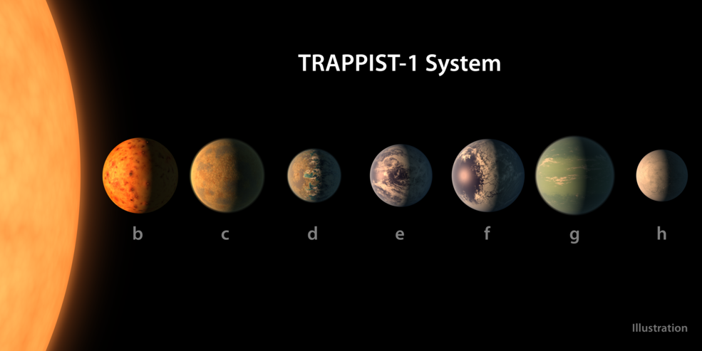 Schematic picture of Trappist-1's planets