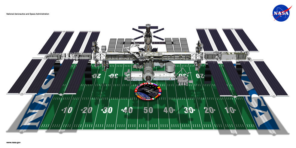 space station image on football field