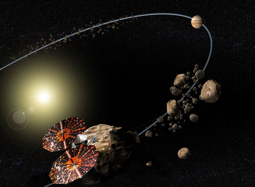 Conceptual image of the Lucy mission to the Trojan asteroids