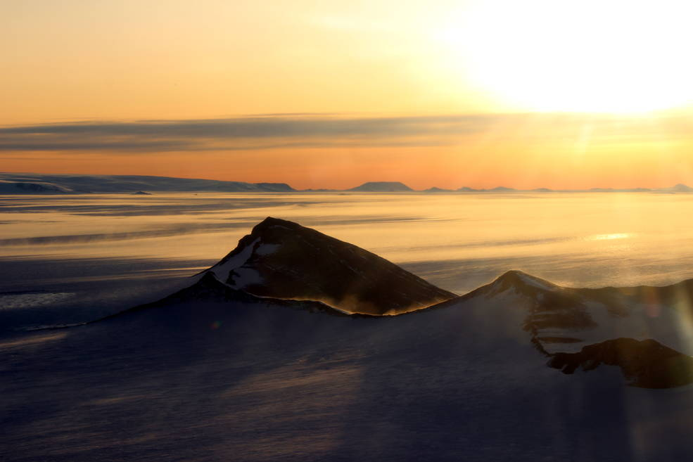 Shackleton Range in Antarctica at sunset