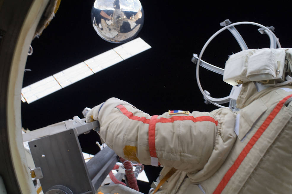 Russian cosmonaut Gennady Padalka performs a spacewalk at the International Space Station Aug. 20, 2012.