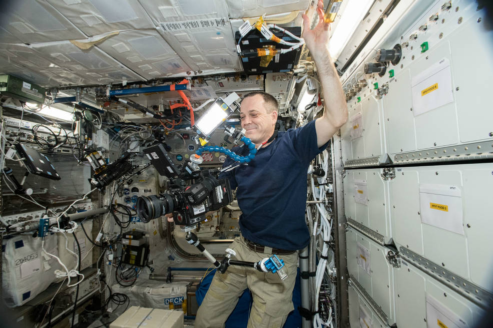NASA astronaut Ricky Arnold filming on the ISS