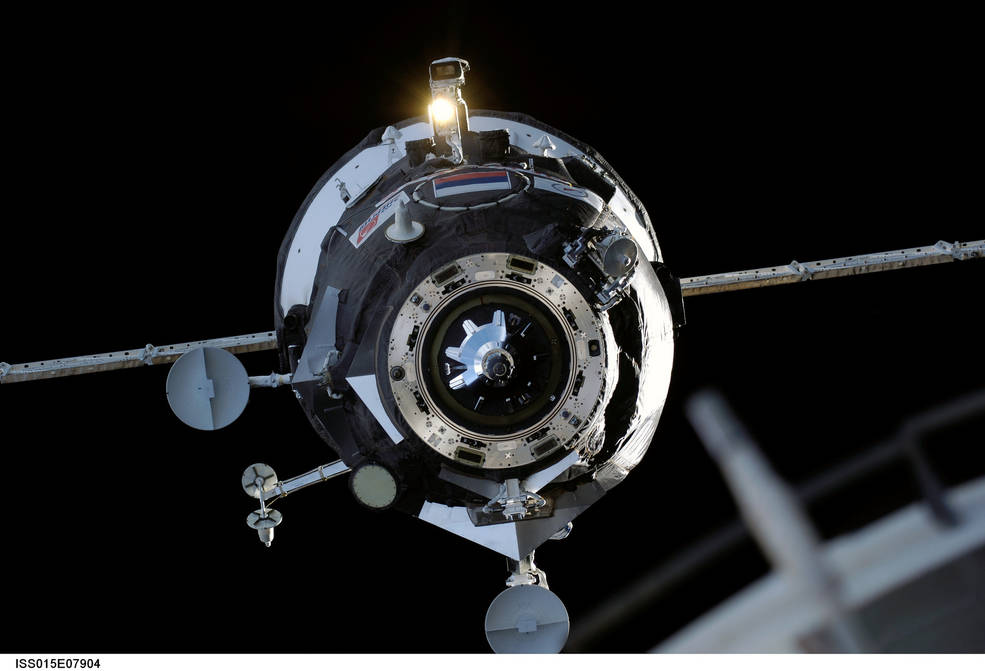 An uncrewed Russian Progress cargo resupply spacecraft approaches the International Space Station
