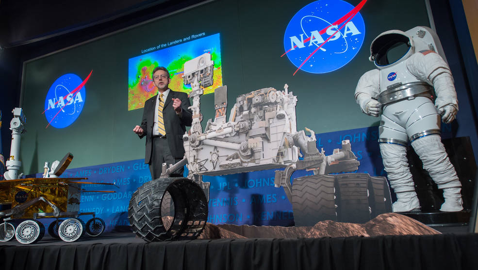 NASA Planetary Science Director Jim Green at the first anniversary of the Curiosity rover's landing on Mars