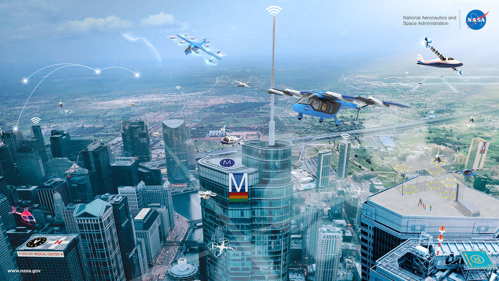 Advanced Air Mobility graphic showing unmanned air vehicles in flight over rural and city areas.